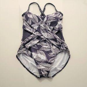Dreamsuit Gray & White Swimsuit Sz 12